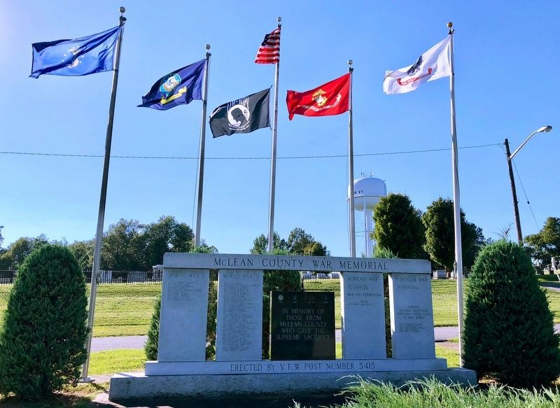 McLean County War Memorial at the Calhoun Cemetery. image. Click for full size.