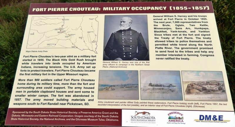 Fort Pierre Chouteau: Military Occupancy (1855-1857) Marker image. Click for full size.