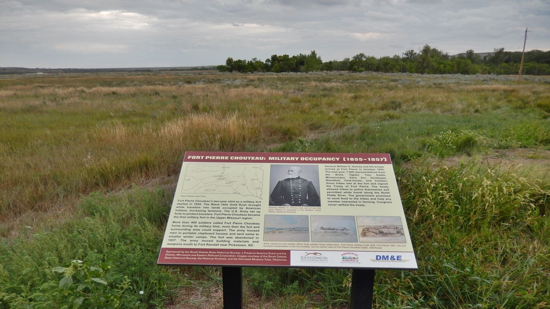 Fort Pierre Chouteau: Military Occupancy (1855-1857) Marker (<i>wide view</i>) image. Click for full size.