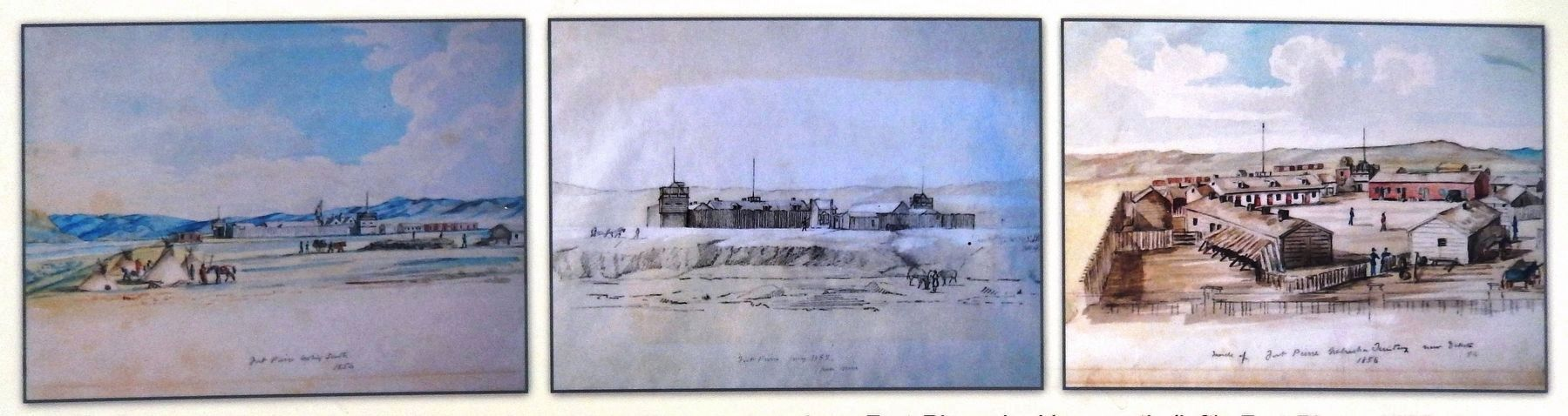 Marker detail: Fort Pierre Chouteau watercolors image. Click for full size.