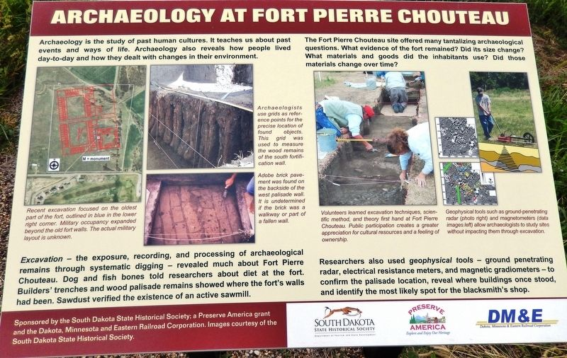 Archaeology at Fort Pierre Chouteau Marker image. Click for full size.