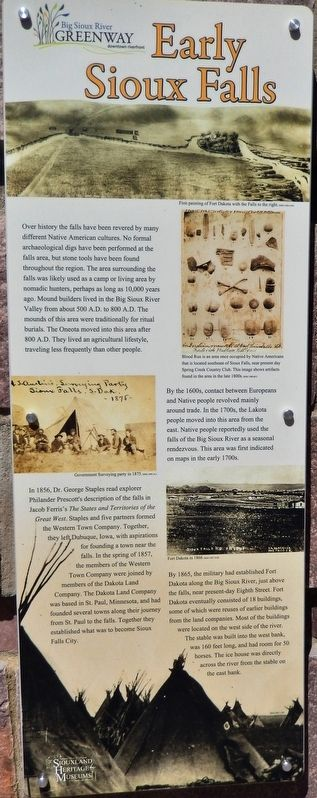 Early Sioux Falls Marker image. Click for full size.