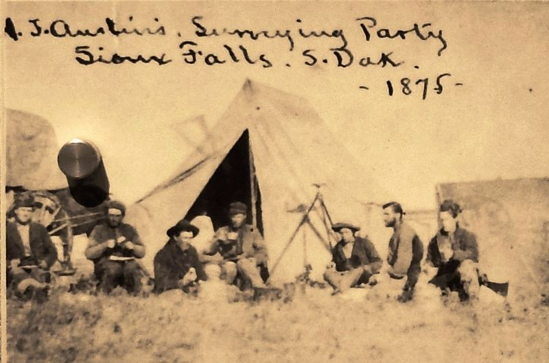 Marker detail: Government Surveying party in 1875 image. Click for full size.