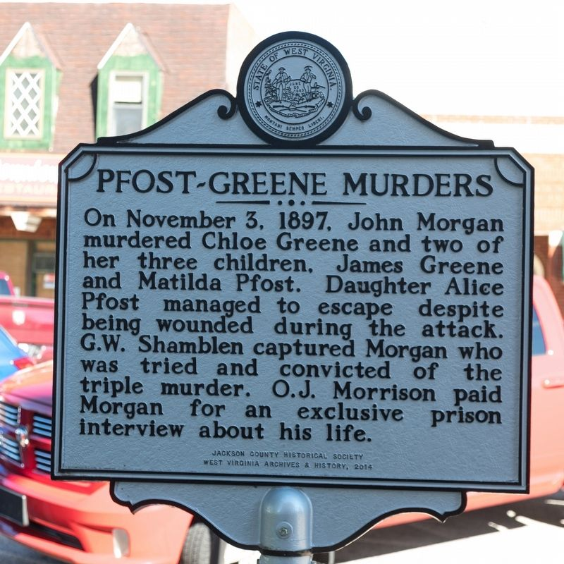Pfost-Greene Murders side of marker image. Click for full size.