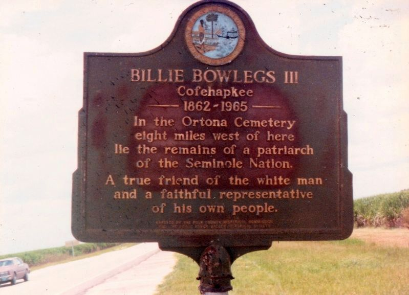 Original Billie Bowlegs (III) Marker image. Click for full size.