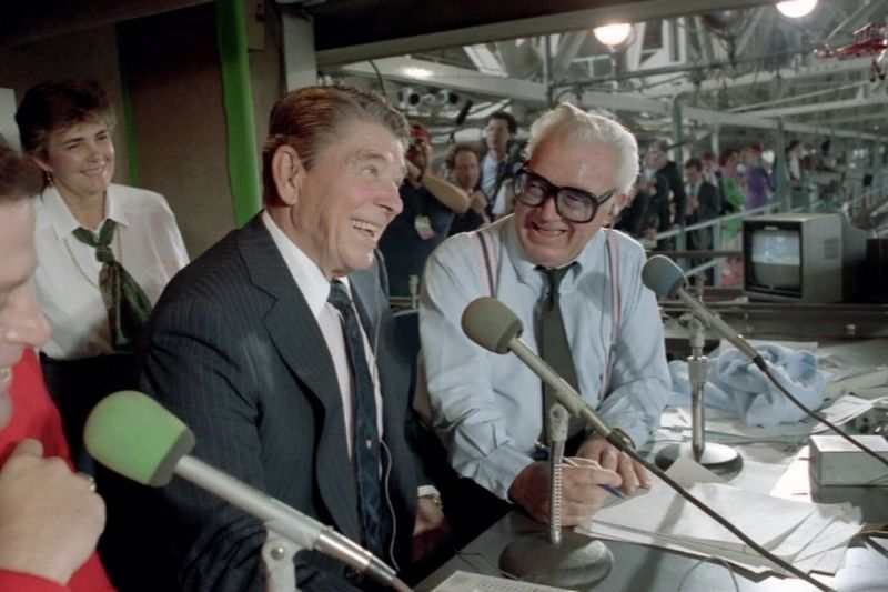 <i>President Ronald Reagan in The Press Box with Harry Caray...</i> image. Click for full size.