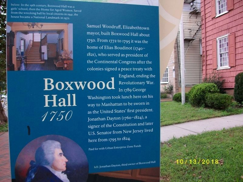 Close-up of Boxwood Hall Marker image. Click for full size.