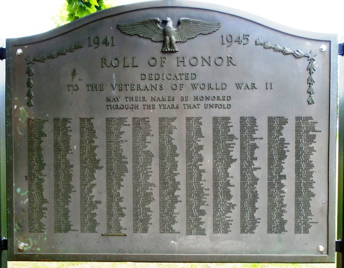 World War II Roll of Honor Marker