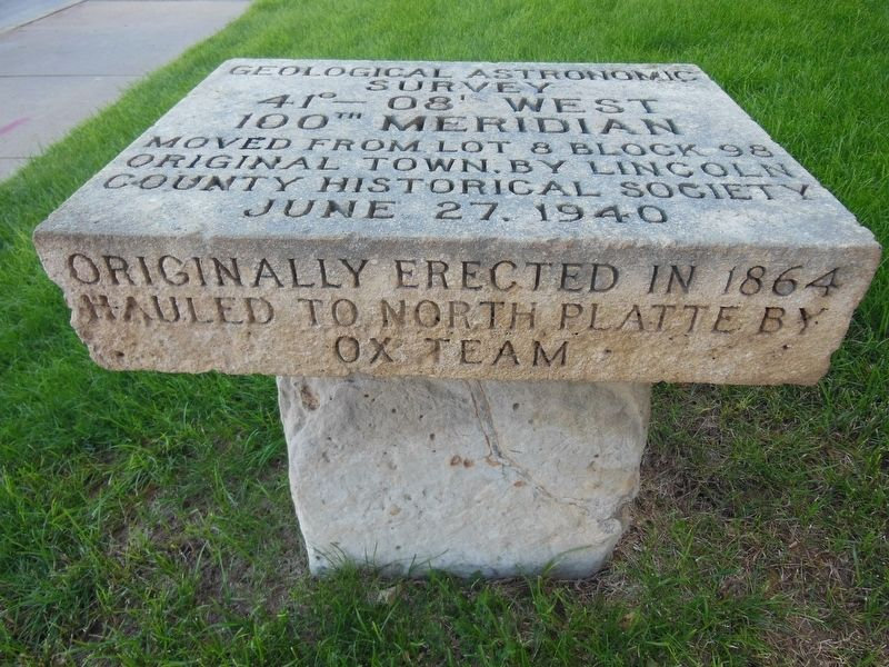 100th Meridian Marker (<i>edge view</i>) image. Click for full size.