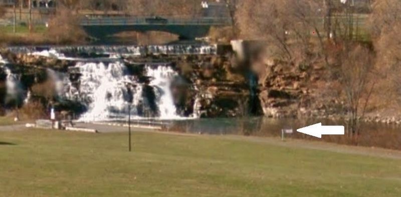 Sharing the Flow Marker (<i>wide view from Montcalm Street; La Chute River/Falls in background</i>) image. Click for full size.