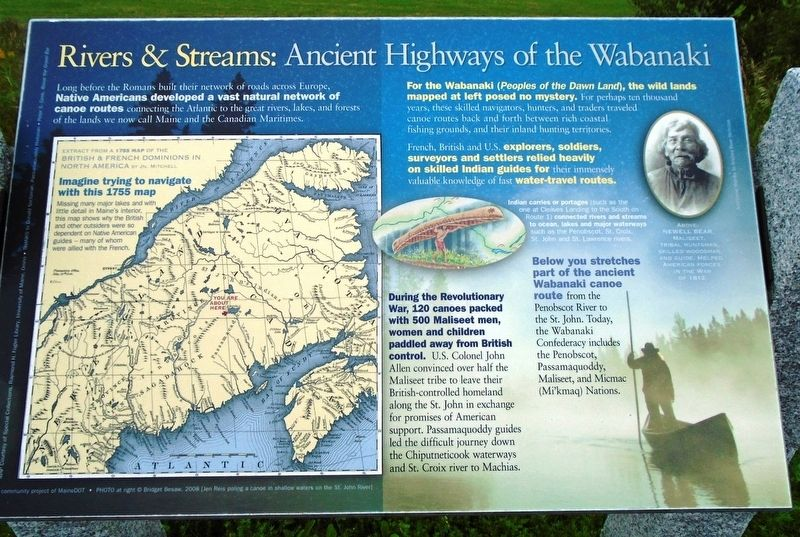 Rivers & Streams: Ancient Highways of the Wabanaki Marker image. Click for full size.