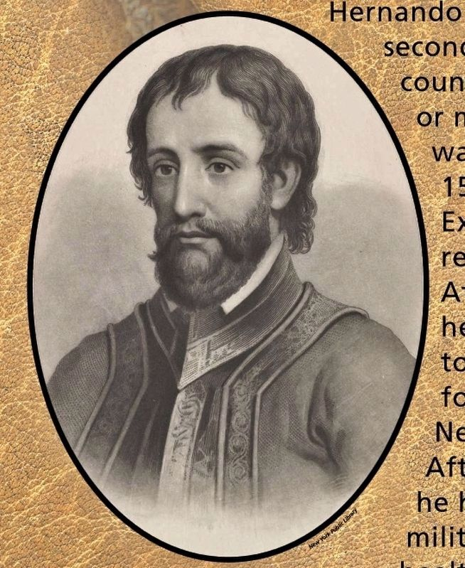 Marker detail: A youthful Hernando de Soto image, Touch for more information