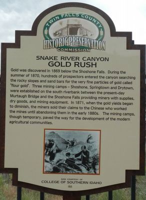 Snake River Canyon Gold Rush Marker image. Click for full size.