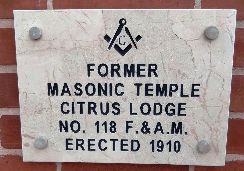 Inverness Masonic Temple Plaque (<i>mounted on wall at northeast corner of building</i>) image. Click for full size.