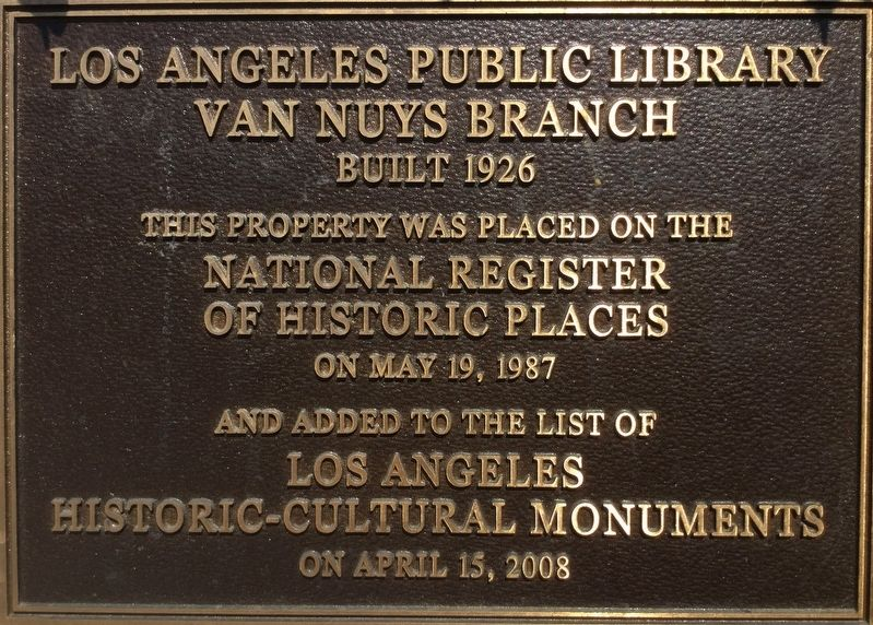 Van Nuys Library Marker image. Click for full size.