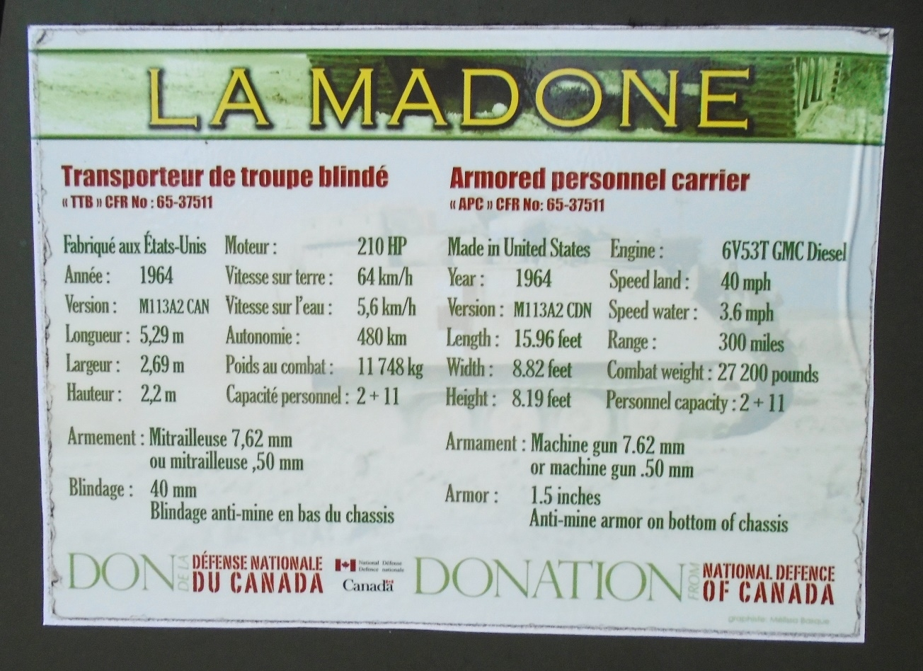 "« La Madone » / ""The Madonna"" Armored Personnel Carrier Info"