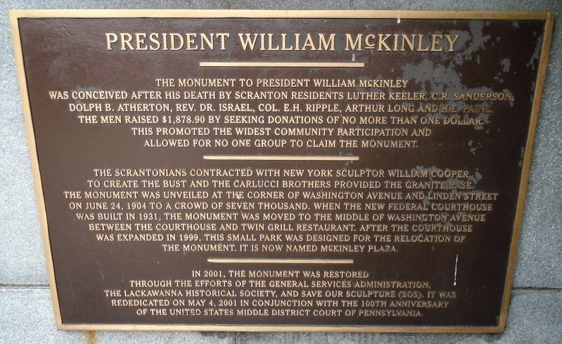 William M<sup><u>c</u></sup>Kinley Rededication Marker image. Click for full size.