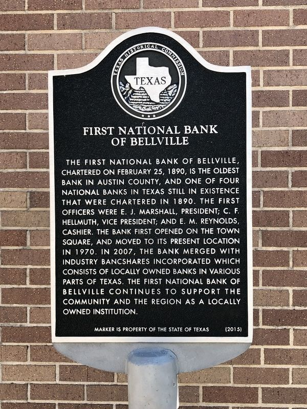 First National Bank of Bellville Marker image. Click for full size.