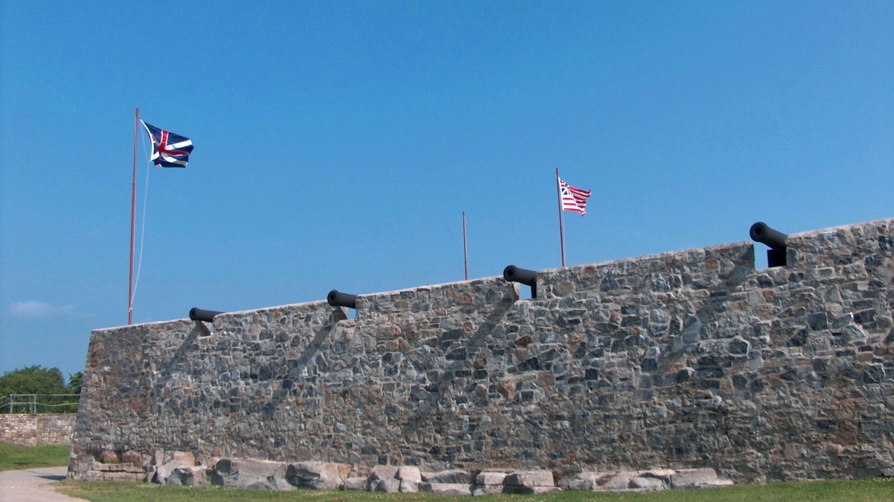 Fort Ticonderoga Rampart (<i>wide view from ground-level</i>) image. Click for full size.