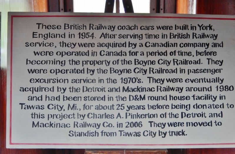 1954 British Railway Coach Cars (<i>Railroad Depot Museum interpretive panel</i>) image. Click for full size.