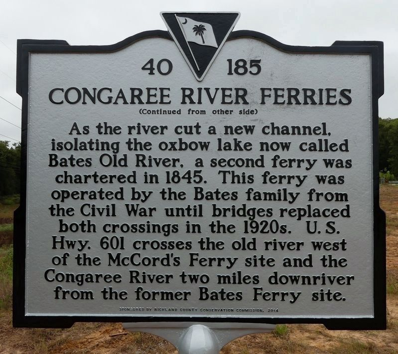 Congaree River Ferries Marker - other side image. Click for full size.