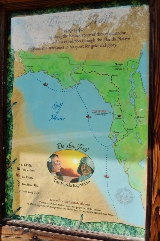 De Soto Trail Map (<i>panel to the left of marker in kiosk</i>) image. Click for full size.