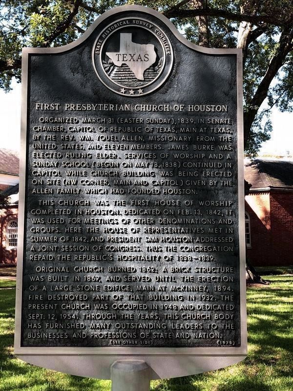 First Presbyterian Church of Houston Marker Front image. Click for full size.