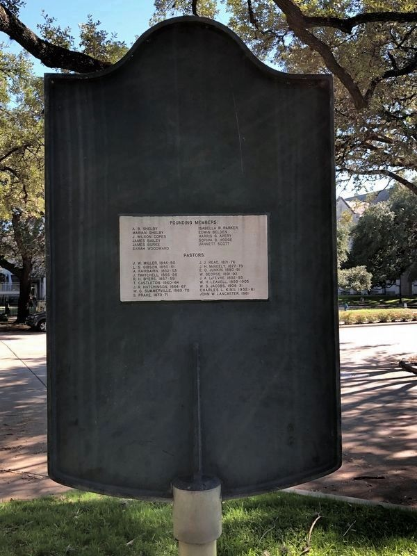 First Presbyterian Church of Houston Marker Rear image. Click for full size.