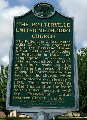 The Potterville United Methodist Church Marker image. Click for full size.