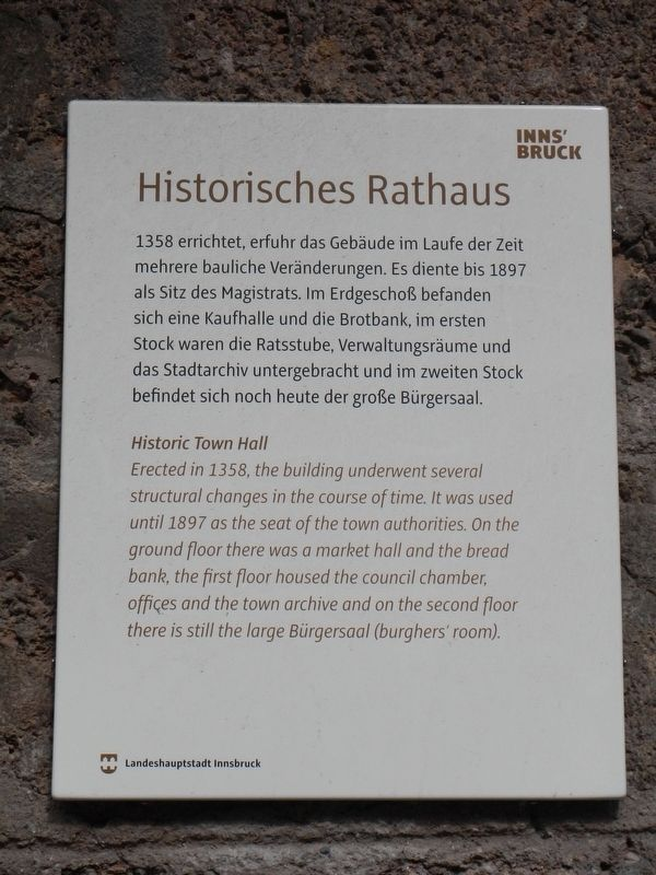 Historisches Rathaus Marker image. Click for full size.