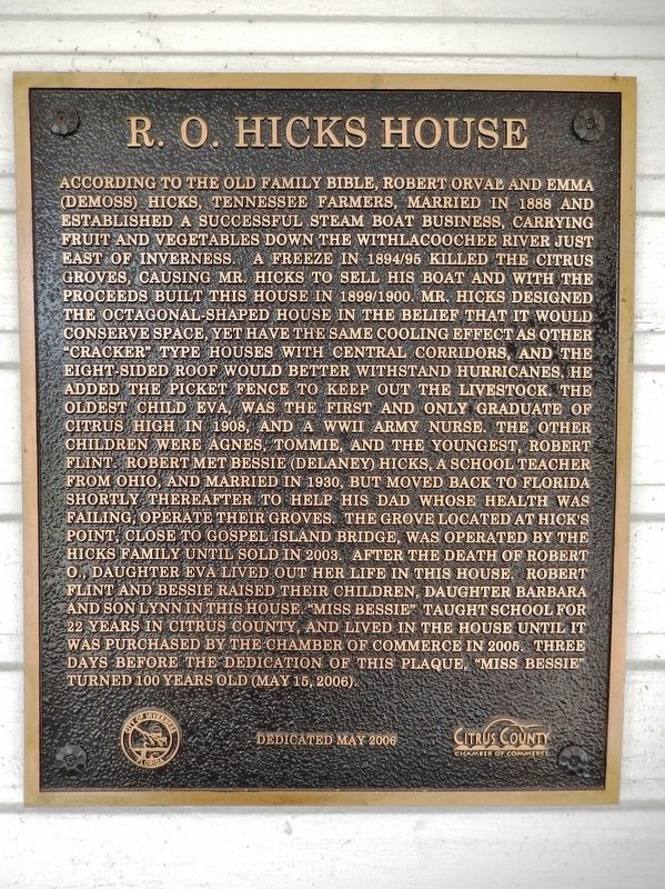 R. O. Hicks House Marker image. Click for full size.