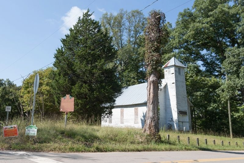 Macedonia Missionary Baptist Church and Marker image. Click for full size.