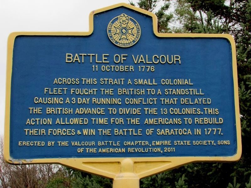Battle of Valcour Marker image. Click for full size.