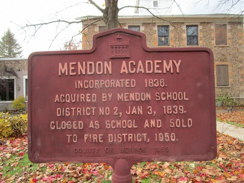 Mendon Academy Marker image. Click for full size.