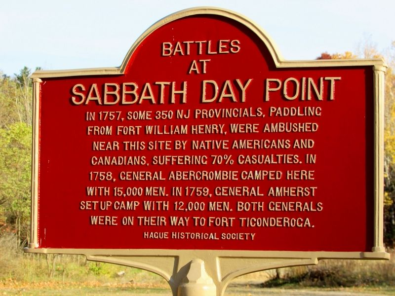 Battles at Sabbath Day Point Marker image. Click for full size.