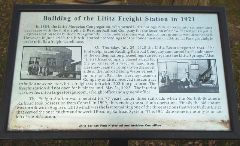 Building of the Lititz Freight Station in 1921 Marker image. Click for full size.