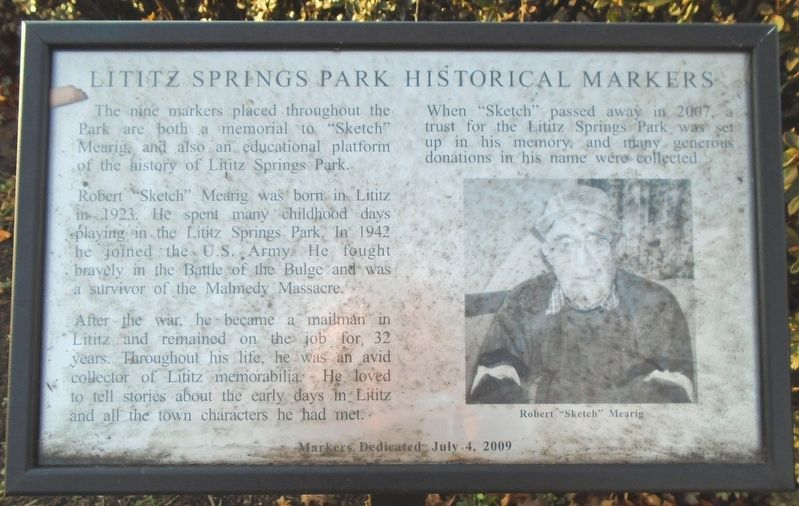 Lititz Springs Park Historical Markers Marker image. Click for full size.