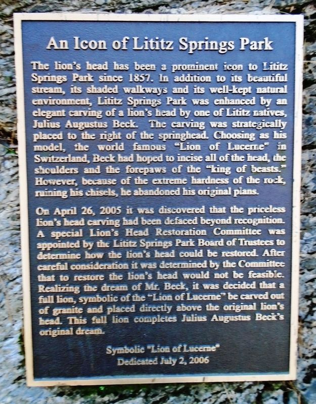 An Icon of Lititz Springs Park Marker image. Click for full size.