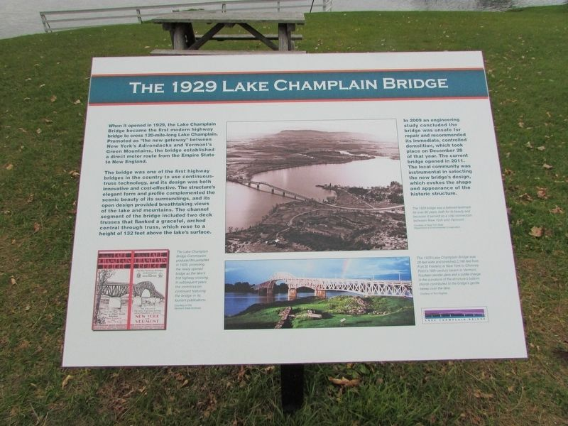 The 1929 Lake Champlain Bridge Marker image. Click for full size.