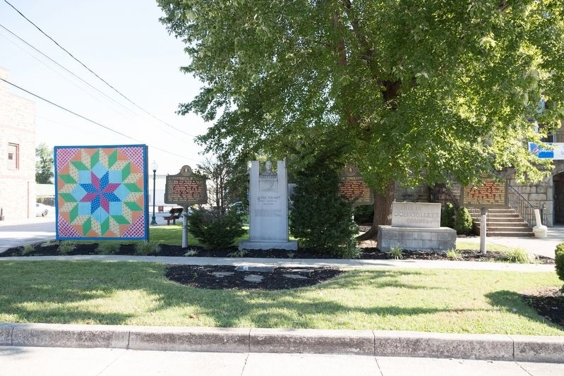 Three historical markers and two monuments at the courthouse image. Click for full size.