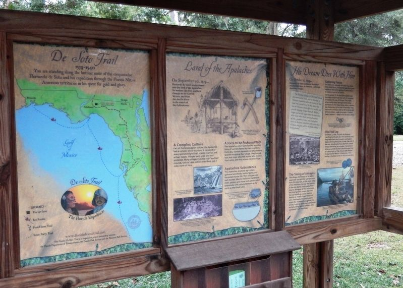 Land of the Apalachee Marker Kiosk (<i>marker panel is in center of kiosk; map is on left</i>) image. Click for full size.