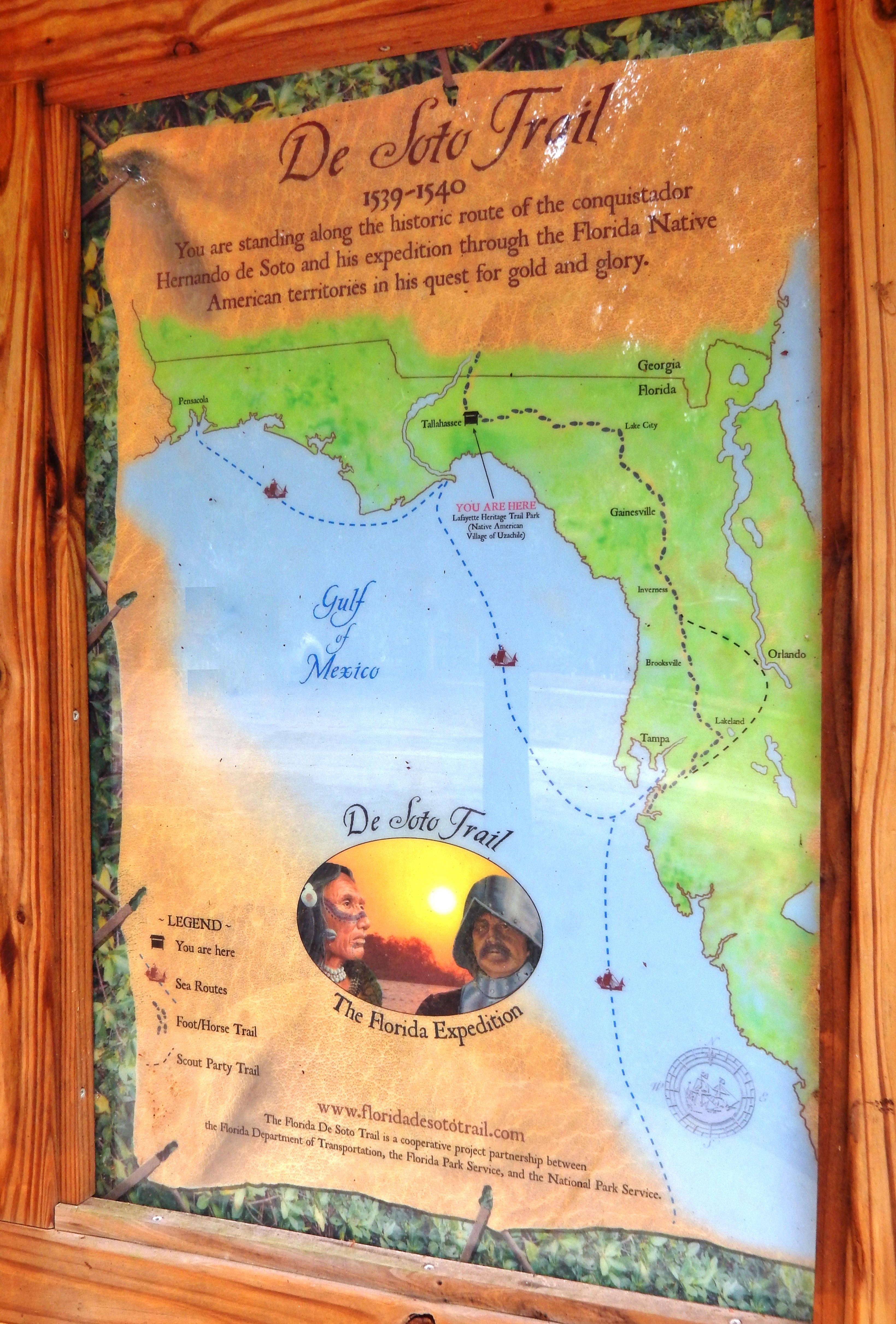 Florida De Soto Trail Map (<i>panel to the left of marker in kiosk</i>)