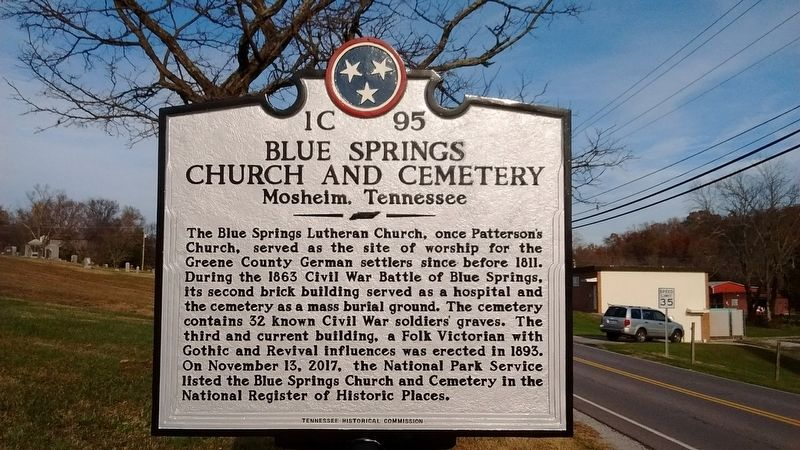 Blue Springs Church and Cemetery Marker image. Click for full size.