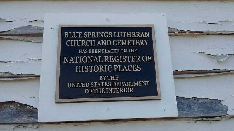 Blue Springs Lutheran Church and Cemetery - National Register of Historic Places image. Click for full size.