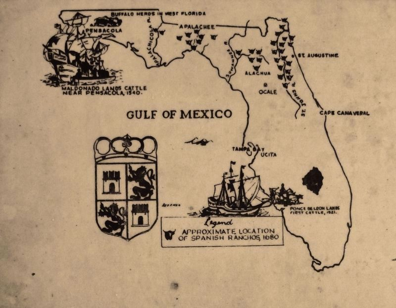 Marker detail: Location of Spanish Ranchos, 1680 image. Click for full size.