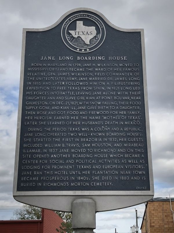 Jane Long Boarding House Marker image. Click for full size.