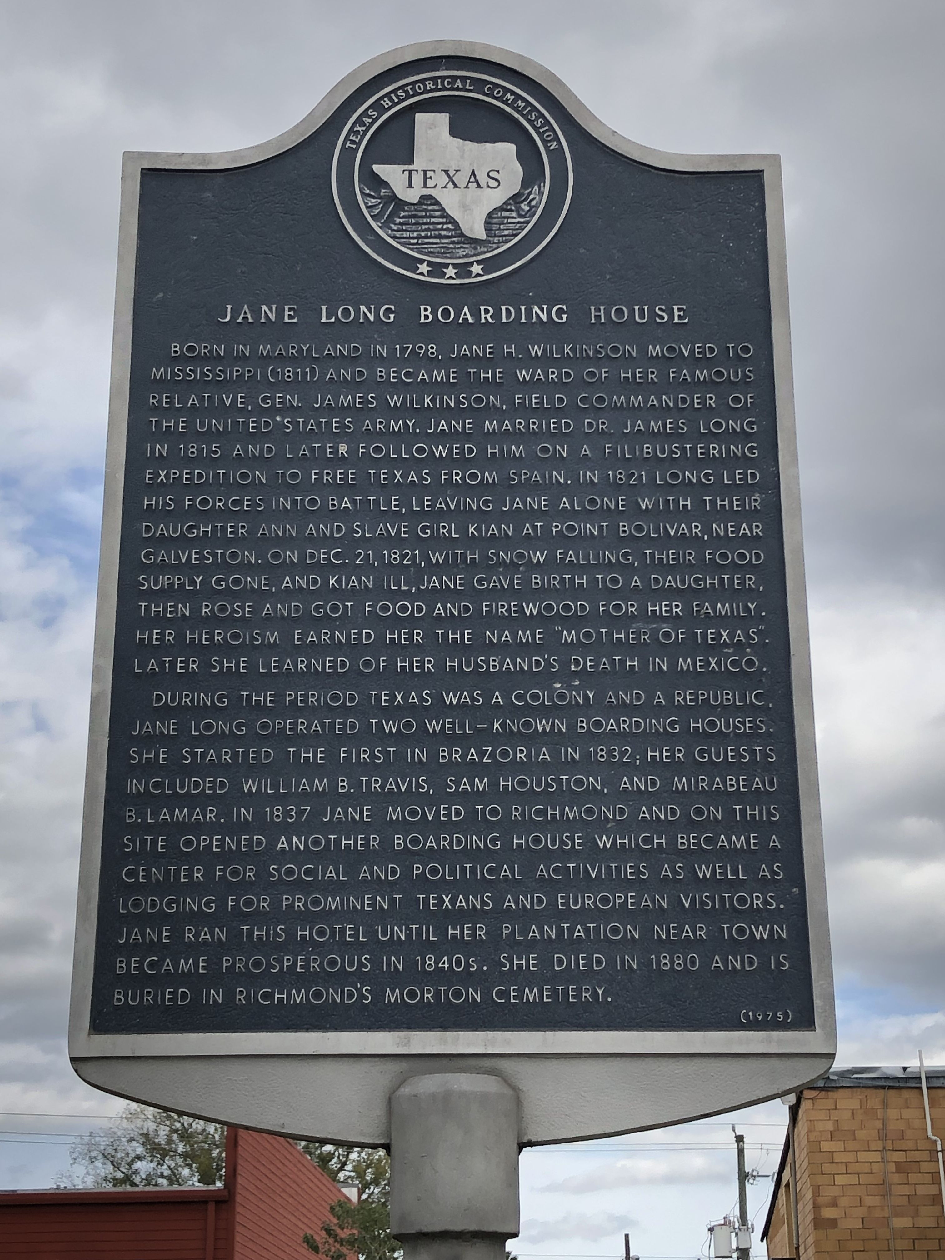 Jane Long Boarding House Marker