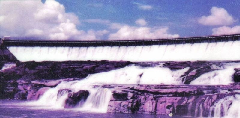 Marker detail: The Great Falls of the Missouri today. Ryan Dam was built in 1915. image. Click for full size.