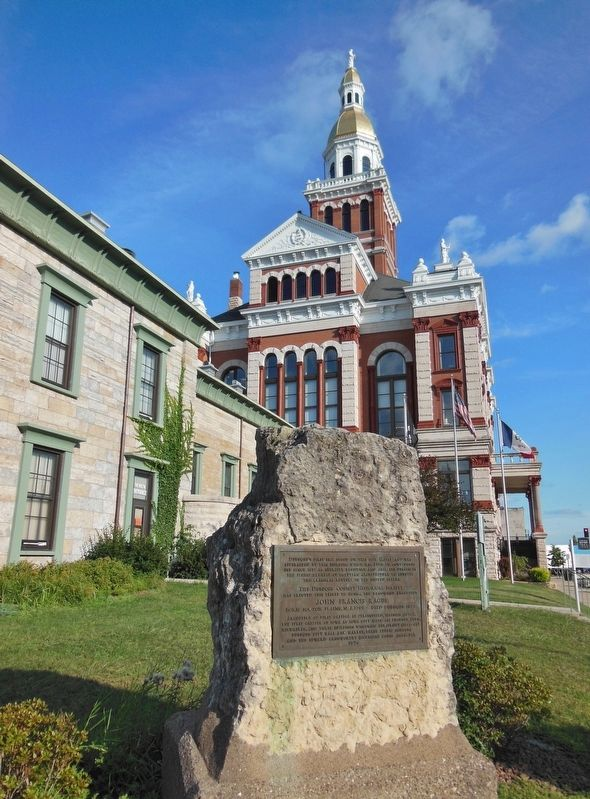 John Francis Rague Marker (<i>tall view; Dubuque County Courthouse in background</i>) image. Click for full size.