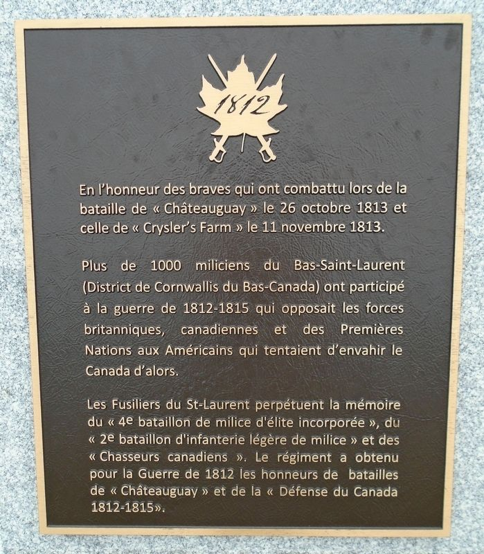 Défense du Canada / Defense of Canada Marker image. Click for full size.